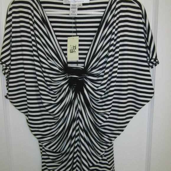 4c6d723bde55f Max Studio M Black and White Stripe Dolman Sleeve